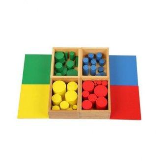 BolehDeals Box of 4 Sets Wooden Knobless Cylinders Montessori Sensorial Materials - intl