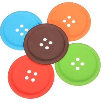 10 buah gelas bentuk tombol silikon Coaster alas cangkir minum tatakan pindahan rumah hadiah