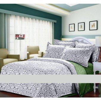 Alona Ellenov Ukir Hijau Putih Bed Cover Set – Putih