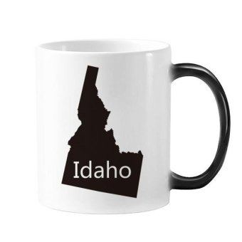 Idaho The United States Of America USA Map Silhouette Morphing Heat Sensitive Changing Color Mug Cup Gift Milk Coffee With Handles 350 ml - intl