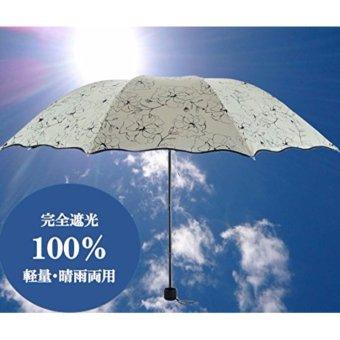 [NET - O] Sunshades Ladies' Umbrella 【Flower Pattern】 Designer Umbrellas Ultraviolet Ray Shielding Ratio 99% Arms shade Large 96cm Black - intl