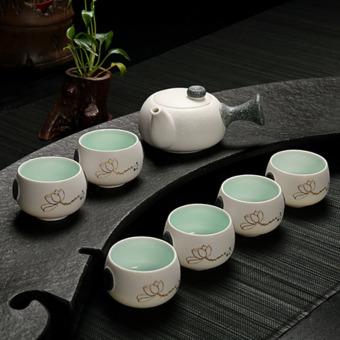 Cina keramik porselen Cina Kung Fu Set teh, Celadon biru Peony cangkir teh Pot keramik, 7 pack - International