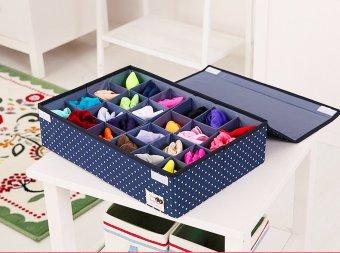 24 Grid Bag Folding Case Storage Box For Bra Socks Underwear Organizer With Cover 46cm*31cm*12cm - intl
