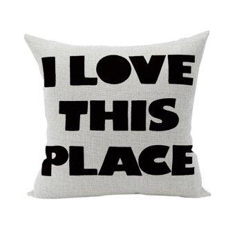 Harga Nunubee Cushion Cover Linen Square Home Decor Pillow Case Decorative Home Accessories Black Words
