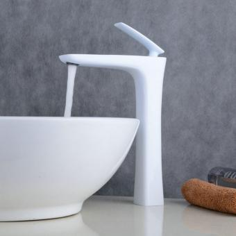 White Painting Mixer Tap Bathroom Sink Faucet Deck Mounted One Hole Bathroom Basin Faucet Single Handle - intl