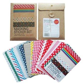 telimei Decorative DIY Basic Paper Tape Pretty Masking Sticker Set (Random Color) - intl