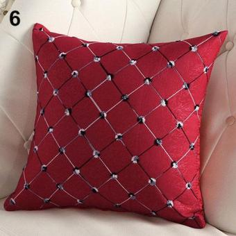 Sanwood Home Sofa Bed Decor Multicolored Plaids Throw Pillow Case (Red) - intl
