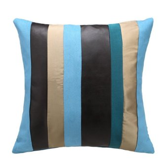 Fashion Striped Multicolored Patchwork Square Suede Pillow Case - intl