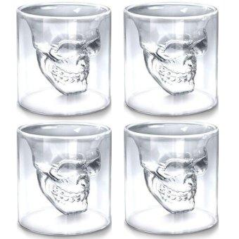 4 buah tengkorak transparan bentuk anggur minuman kopi Mug gelas kaca dekorasi rumah