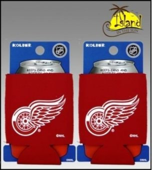 SET OF 2 DETROIT RED WINGS NHL CAN KADDY KOOZIE COOLER - intl