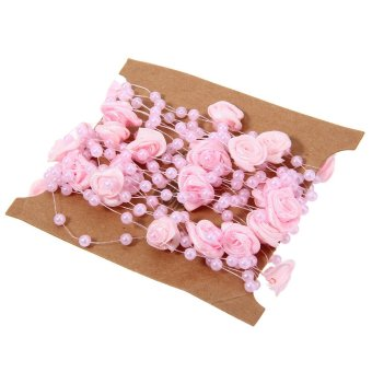 Harga DIY Cloth Art Rose Flower 5 Meters Fishing Line Pearls Wedding Party Decorative Crafts (