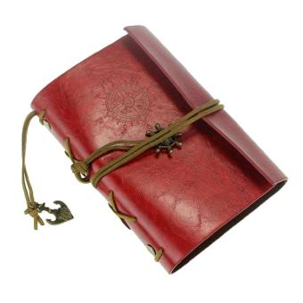 ooplm Vintage Retro Leather Cover Journal Jotter Diary Notebook(Burgundy)