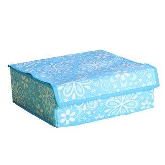 Laci pembagi pakaian kaos ikat lipat kotak penyimpanan lemari penyelenggara dengan penutup 10 sel biru pola bunga