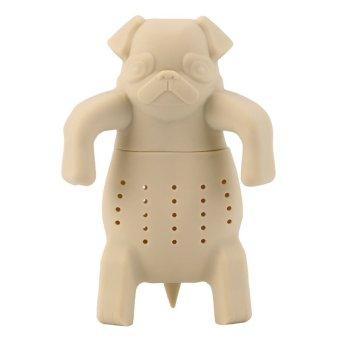 Chic Dog Silicone Loose Tea Leaf Strainer Herbal Spice Infuser Filter Diffuser Beige - Intl