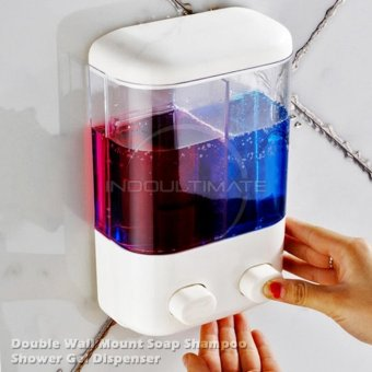 Ultimate Dispenser Sabun Shampo 2in1 Untuk Kamar mandi Dapur Tempat Sabun cair 2 Tabung DP 60. >>>>