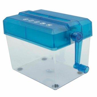 Rumah Pribadi Kantor Portabel Mini Desktop Manual Tangan Crank Pemotong Kertas Mesin Penghancur Kertas Biru
