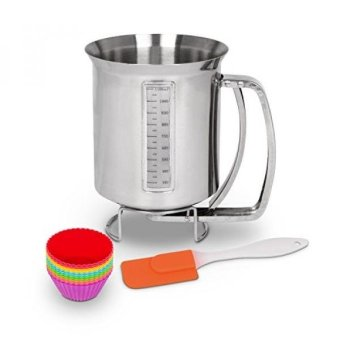 Utilwise Baking Bundle: Stainless Steel Pancake & Cake Batter Dispenser for Making Pancakes, Crepes & Waffles with 12 Pack of Silicone Cupcake Mold Cups and Spatula - intl
