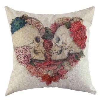 Cotton Linen Skull Throw sarung bantal Pillow case Case Sofa kereta Waist Cushion Cover Home Decor