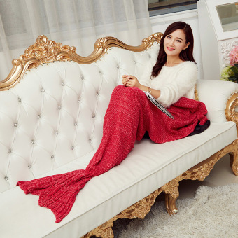 CatWalk Soft Hand-Crocheted Mermaid Tail Sofa Blanket 195*95cm (Red) - intl