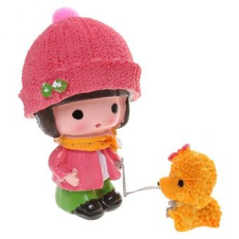 BolehDeals Cute Girl Walking The Dog Resin Figurine Craft Toy Home Decoration Kids Gift - intl