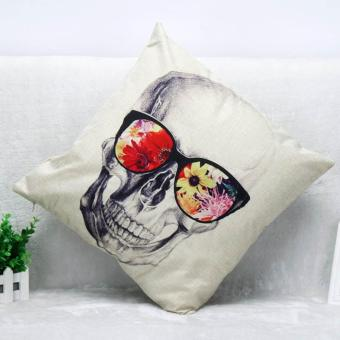 Charming Skull Square Cotton Linen Pillow Case Throw Body Pillow Bed Home Sofa Decor(Size 2:colorful glasses skull) - intl