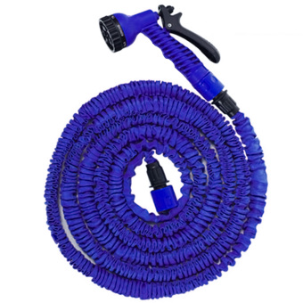 Expandable Car Washing Garden Watering Multiple Nozzle High Pressure Water Spray Gun Sprayer with Hose 2 Connector Blue - Intl