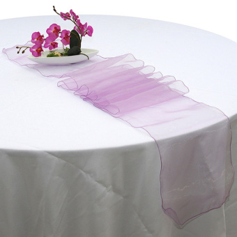 1Pcs 30X275cm Sheer Organza Table Runner Wedding Party Homedecoration Light Purple - intl
