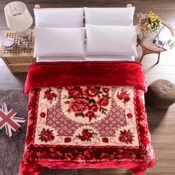 High quality Fleece velvet Chinese month rose bed sheet Flower floral printed blanket throw bedding blanket - intl