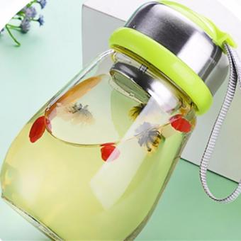 Glass Water Bottle For Beverage and Juicer Use Stainless steel Caps With Carrying Loop 300 ml - intl