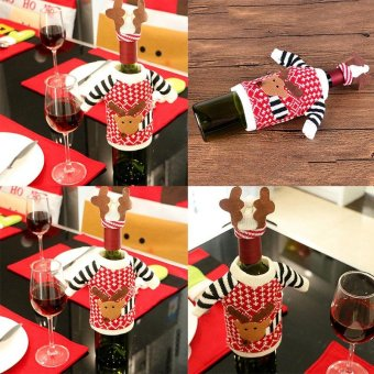 Christmas Party Decor Red Wine Bottle Cover Bags Decoration Home Party - intl