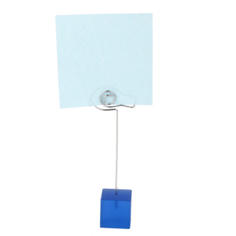 Blue cube base card picture memo photo clips holder Fish shape wire clip