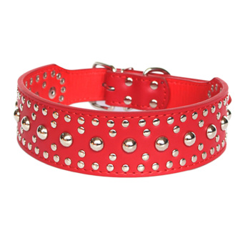 360DSC Fashion Round Nails Mushroom Nails Soft PU Leather Pet Dog Puppy Collar - Red M (Intl)
