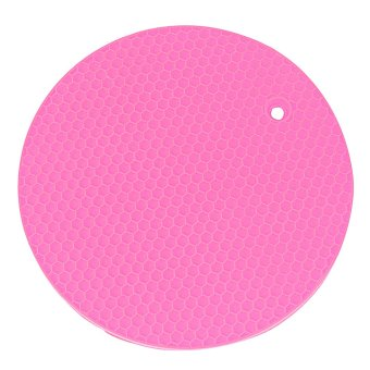 1Pcs Hang Durable Round Silicone Placemats Silicone Coaster Heat Resistant Mat Table Mat Kitchen Accessories Pink