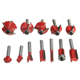 Harga 12Pcs Professional Shank Tungsten Carbide Router Bit Cutter Set With Wooden Case 1/4