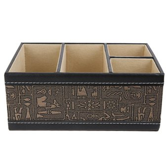 PU Leather Storage Box Cosmetic Remote Controller Holder (Roman pattern) - intl