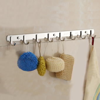 Coat Rack Hat Rail Wall Mounted, SUS304 Stainless Steel Heavy Duty Hook for Household Bathroom Kithchen, Great Home, Office Storage & Organization, Brushed Finish (8 Hooks- 61cm In Length) - intl