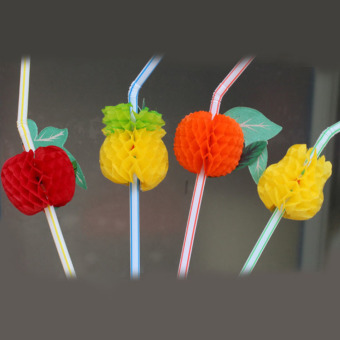 50Pcs Hawaiian Theme 3D Fruit Summer Party Colorful Cocktail Drink Straw - Intl- - intl