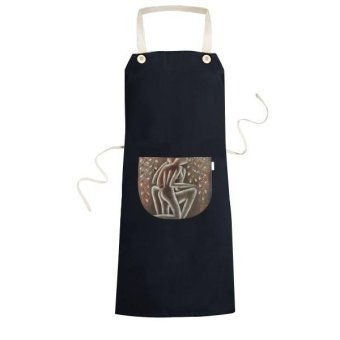 Modern Style Abstract Characters Illustration Pattern Cooking Kitchen Black Bib Aprons With Pocket for Women Men Chef Gifts - intl