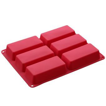 Harga Griya Cetakan Kue / Puding / Sabun Rectangular Box 6 cav - Red