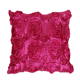 Sanwood Satin 3D Rose Flower Square Throw Pillow Case Cover Type 7