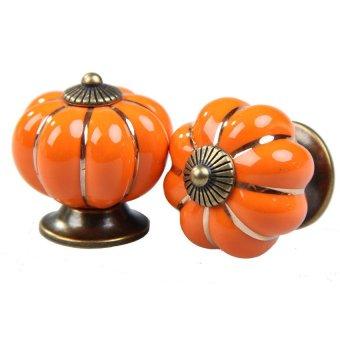 S & F 2 Pcs Orange Pumpkin Door Pull Handles Cabinet Cupboard Drawer Ceramic Knobs