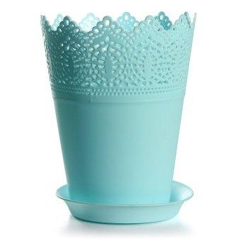 Home Office Decor Colorful Flower Planter Tray Crown Lace Plastic Plant Pot Sky Blue