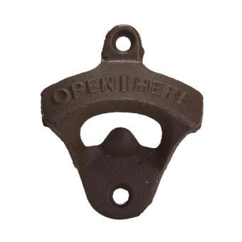 chechang Classic Open Here Wall Mounted Beer Bottle Opener for Bar Man Cave (Brown)