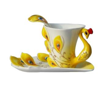 akerfush Peacock Mugs Hand Crafted China Enamel Porcelain Tea Mug Coffee Cup Set with Spoon and Saucer (Yellow)