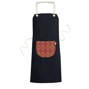 Kingdom of Thailand Thai Traditional Customs Golden Red Weaving Decorative Pattern Satin Shrine Art Illustration Cooking Kitchen Black Bib Aprons With Pocket for Women Men Chef Gifts - intl