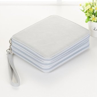 120 Slots PU Leather Zipper Pencil Case Stationery Make Up Bag Pen Storage Pouch - intl