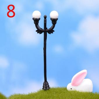 Cute Resin Craft Miniature Landscape Streetlights Fairy Garden Lighting Gift Black - Intl