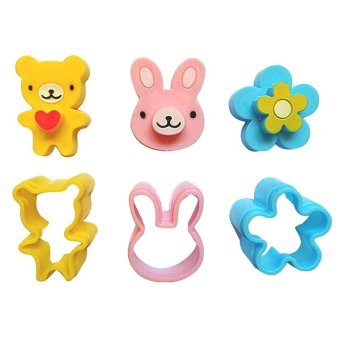 3Pcs Sandwich Crust Cutter Cookie Bread Mold Bento Maker Rabbit Panda Flower Multi-color - intl