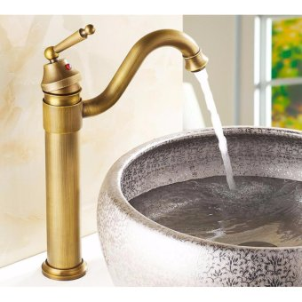 Retro Basin Sink Faucet Tall Body With All Set Cold And Hot Water Big Sale - intl