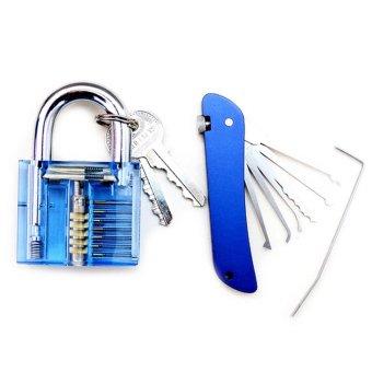 Set Visible Cutaway Practice Lock Padlock Training Pick Skill Lock with Multi-functional Screwdriver Knife Locksmith Tool - intl